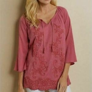 Soft Surroundings Pink Floral Embroidery Top Small
